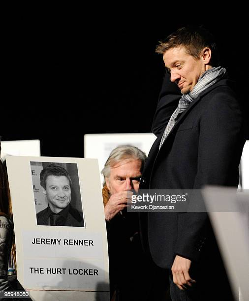 Actor Jeremy Renner cast member of the film The Hurt Locker walks back to his seat during rehearsels of the 16th Annual Screen Actors Guild Awards on...