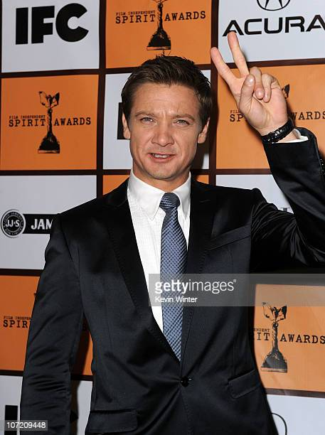 Actor Jeremy Renner poses onstage during the 2011 Film Independent Spirit Award nominations press conference at The London West Hollywood on November...
