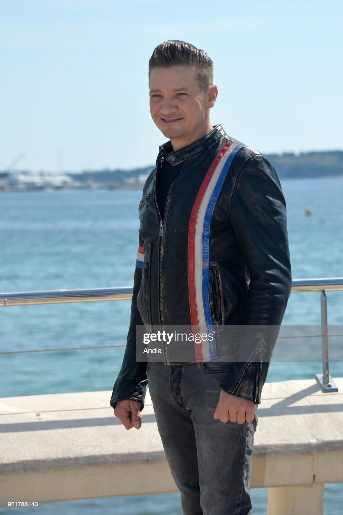 Actor Jeremy Renner posing for a photocall on the occasion of the MipTV, International Television Programme Market, in Cannes (south-eastern France) on .