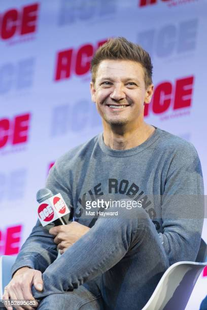 Actor Jeremy Renner speaks on stage during ACE Comic Con at Century Link Field Event Center on June 28 2019 in Seattle Washington