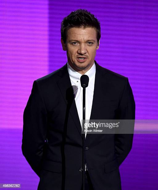 Actor Jeremy Renner speaks onstage during the 2015 American Music Awards at Microsoft Theater on November 22 2015 in Los Angeles California