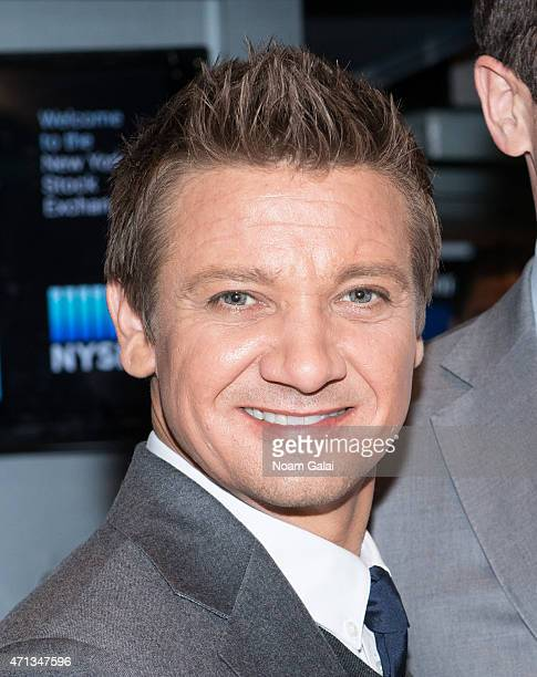 Actor Jeremy Renner visits the New York Stock Exchange on April 27 2015 in New York City