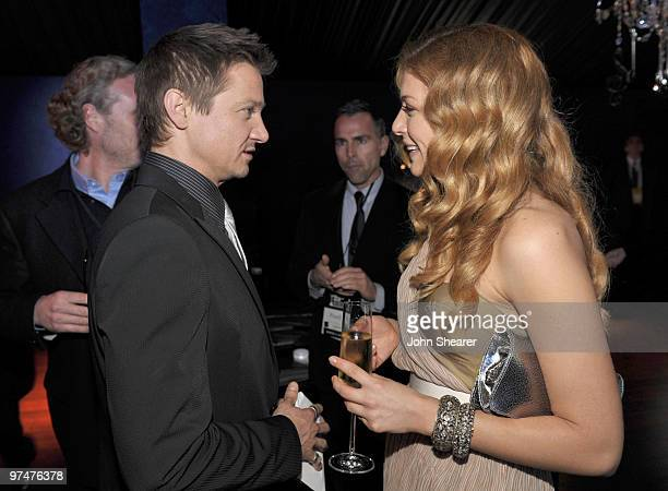 Actor Jeremy Renner wearing Piaget and actress Rachelle Lefevre in the Piaget Lounge at the 25th Film Independent Spirit Awards held at Nokia Theatre...