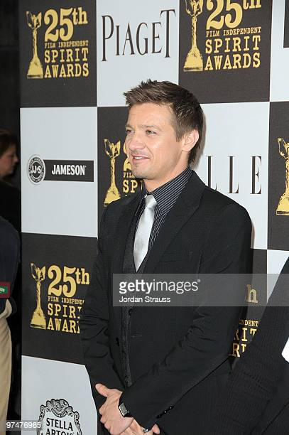 Actor Jeremy Renner wearing Piaget arrives at the 25th Film Independent Spirit Awards sponsored by Piaget held at Nokia Theatre LA Live on March 5...