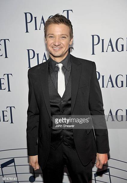 Actor Jeremy Renner wearing Piaget in the Piaget Lounge at the 25th Film Independent Spirit Awards held at Nokia Theatre LA Live on March 5 2010 in...