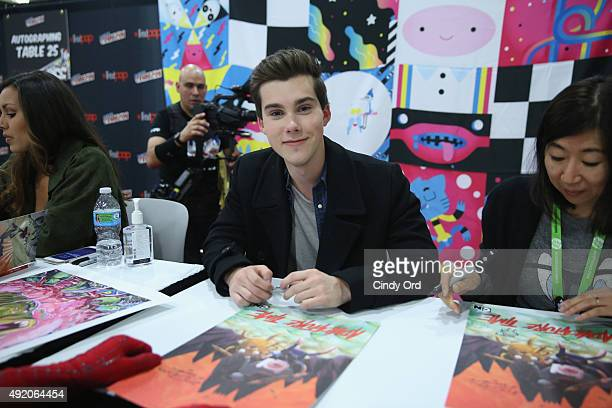 Actor Jeremy Shada attends the Cartoon Network Adventure Time autograph signing Cartoon Network at New York Comic Con 2015 at the Jacob Javitz Center...