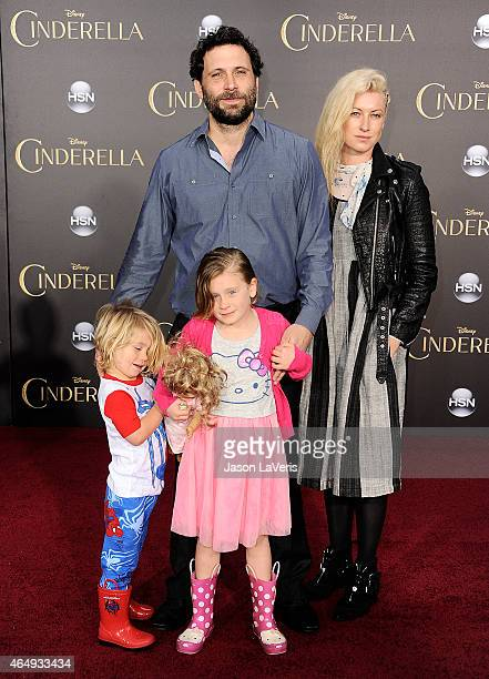 Actor Jeremy Sisto wife Addie Lane and children Bastian Kick Sisto and Charlie Ballerina Sisto attend the premiere of Cinderella at the El Capitan...