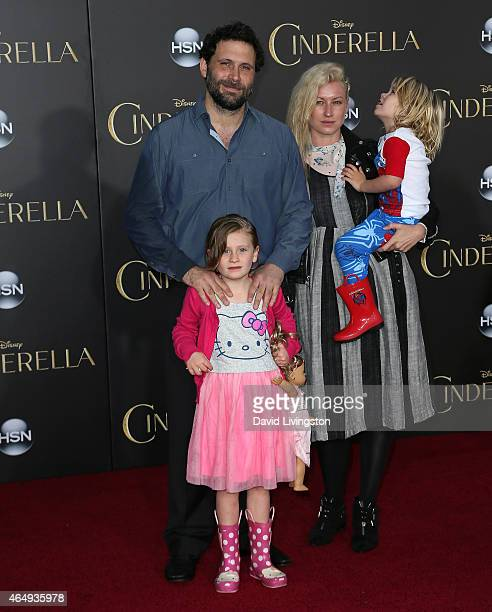 Actor Jeremy Sisto wife Addie Lane and children Bastian Kick Sisto and Charlie Ballerina Sisto attend the premiere of Disney's Cinderella at the El...