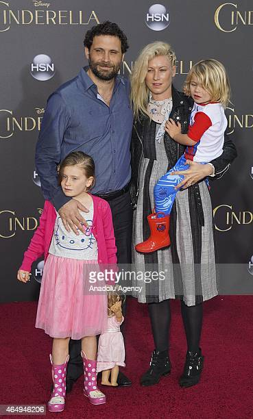 Actor Jeremy Sisto wife Addie Lane and children Bastian Kick Sisto and Charlie Ballerina Sisto attend the premiere of Disney's 'Cinderella' at the El...