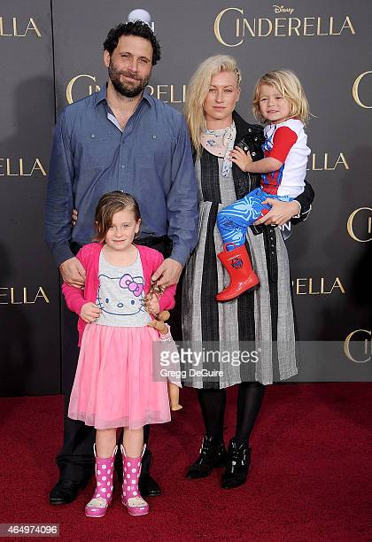 Actor Jeremy Sisto wife Addie Lane children Bastian Kick Sisto and Charlie Ballerina Sisto arrive at the World Premiere of Disney's Cinderella at the...