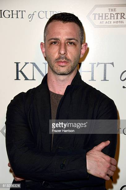 Actor Jeremy Strong attends the premiere of Broad Green Pictures' Knight Of Cups on March 1 2016 in Los Angeles California
