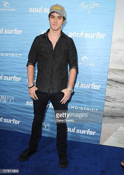 Actor Jeremy Sumpter attends the Soul Surfer Los Angeles Premiere at ArcLight Cinemas on March 30 2011 in Hollywood California