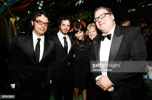Actor Jermaine Clement actor Bret McKenzie and actor Jeff Garlin attend the HBO EMMY Party at the Plaza at the Pacific Design Center on September 21...