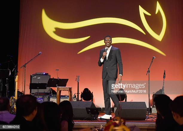 Actor Jerrod Carmichael speaks onstage at Michael J Fox Foundation's 'A Funny Thing Happened On The Way To Cure Parkinson's' gala at The...