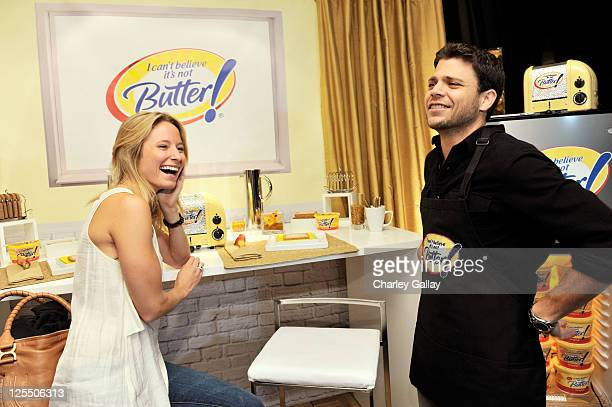 Actor Jerry Ferrara and Alexandra Blodgett attend the I Can't Believe It's Not Butter Toast Bar in The HP Touchsmart Gift Lounge backstage at the...