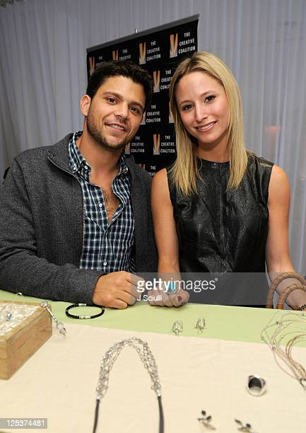 Actor Jerry Ferrara and Alexandra Blodgett pose with Silpada during Kari Feinstein Primetime Emmy Awards Style Lounge at the Mondrian Los Angeles on...