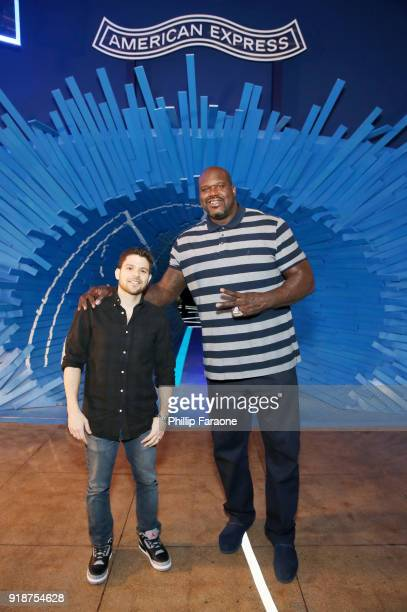 Actor Jerry Ferrara and Shaquille O'Neal at the American Express Fan Experience at NBA AllStar Weekend 2018 on February 15 2018 in Los Angeles...