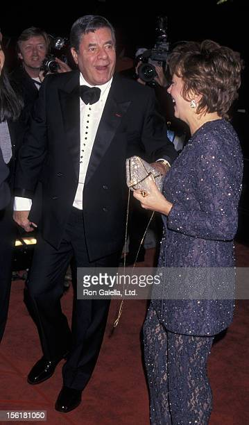Actor Jerry Lewis and wife Sandee Lewis attend 12th Annual American Comedy Awards on February 22 1998 at the Shrine Auditorium in Los Angeles...
