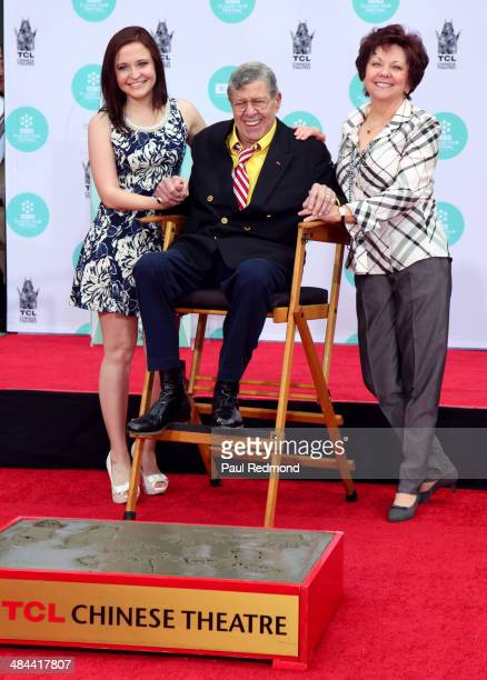 Actor Jerry Lewis daughter Danielle Sarah Lewis and wife actress SanDee Pitnick at the 2014 TCM Classic Film Festival Jerry Lewis Hand And Footprint...