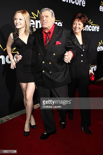 Actor Jerry Lewis daughter Danielle Sarah Lewis and wife SanDee Pitnick arrive at the Method to the Madness of Jerry Lewis premiere at Paramount...