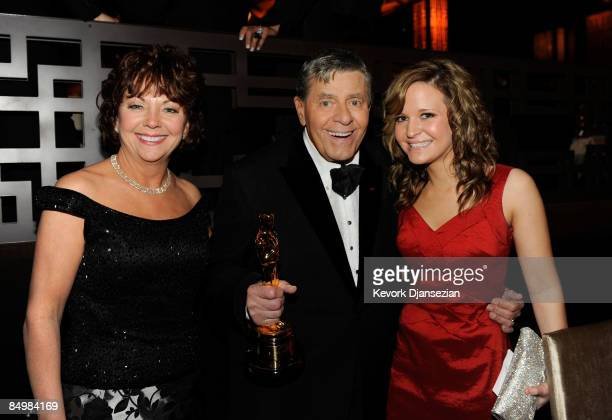 Actor Jerry Lewis recipient of the Jean Hersholt Humanitarian Award and wife SanDee Pitnick and daughter Daniele Lewis attend the 81st Annual Academy...