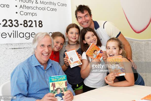 Actor Jerry O'Connell and his daughters Dolly and Charlie attend the Henry Winkler book signing at WeVillage Flexible Childcare Center on April 22...