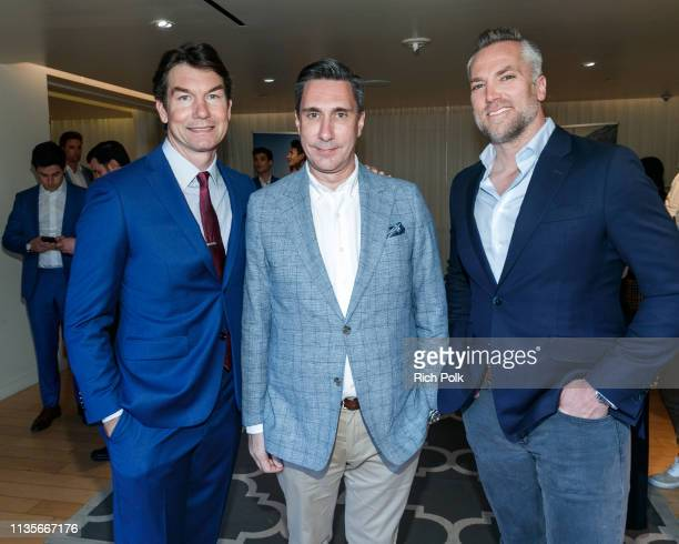 Actor Jerry O'Connell Dean Handspiker and a guest attend Indochino Los Angeles Spring/Summer '19 Launch Party at SkyBar at the Mondrian Los Angeles...