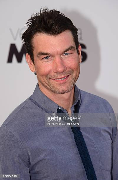 Actor Jerry O'Connell poses on arrival for the film premiere of 'Veronica Mars' in Hollywood California on March 12 2014 The film opens on March 14...