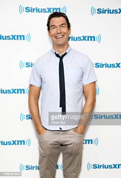 Actor Jerry O'Connell SiriusXM host Andy Cohen during a visit to SiriusXM's 'Radio Andy' at the SiriusXM Studios on September 24 2018 in New York City