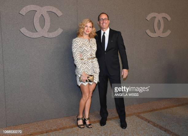 US actor Jerry Seinfeld and his wife Jessica attend the Chanel Metiers D'Art 2018/19 Show at The Metropolitan Museum of Art on December 4 2018 in New...