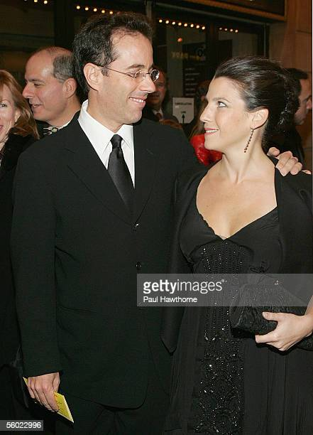 Actor Jerry Seinfeld and his wife Jessica Seinfeld arrive at the opening night of The Odd Couple at the Brooks Atkinson Theater October 27 2005 in...