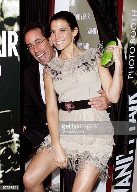 WEST HOLLYWOOD CA MARCH 07 *EXCLUSIVE* Actor Jerry Seinfeld and Jessica Seinfeld attend the 2010 Vanity Fair Oscar Party hosted by Graydon Carter at...