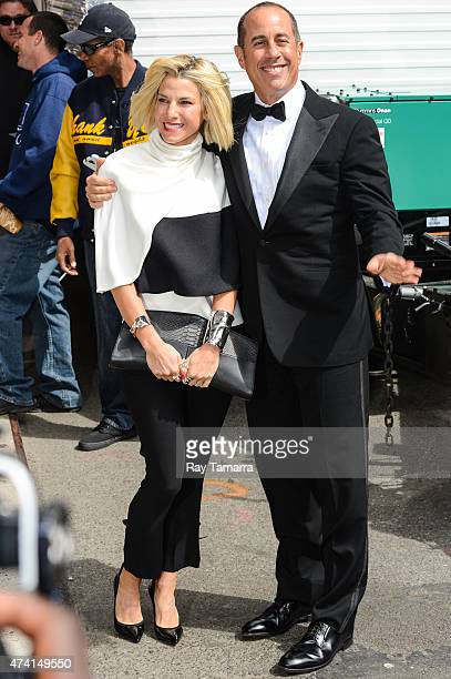 """Actor Jerry Seinfeld and Jessica Seinfeld enter the """"Late Show With David Letterman"""" taping at Ed Sullivan Theater on May 20, 2015 in New York City."""