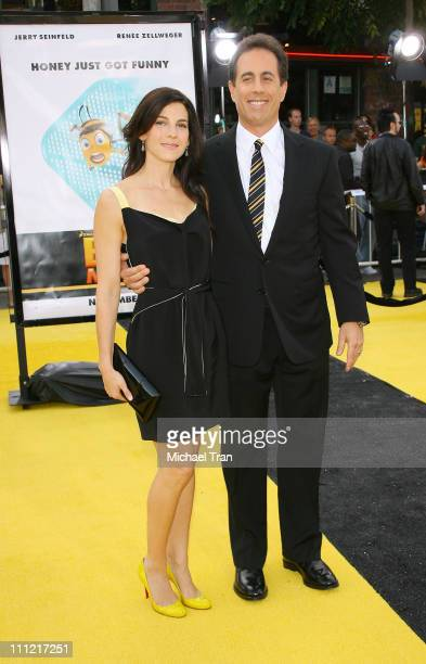 Actor Jerry Seinfeld and wife Jessica arrives at the Los Angeles Premiere of Bee Movie held at the Mann Bruin Theatre on October 28 2007 in Westwood...