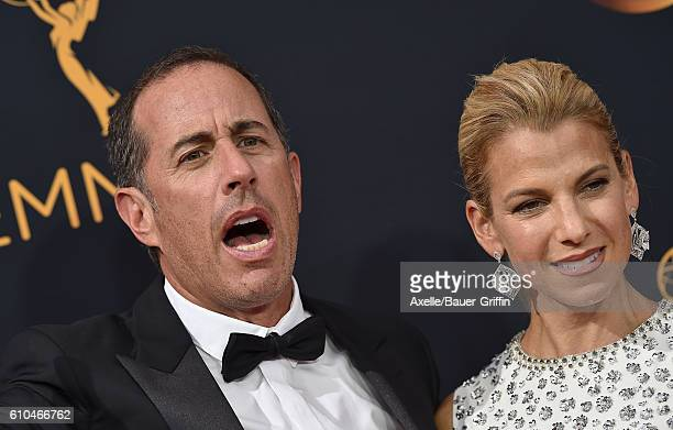 Actor Jerry Seinfeld and wife Jessica Seinfeld arrive at the 68th Annual Primetime Emmy Awards at Microsoft Theater on September 18 2016 in Los...