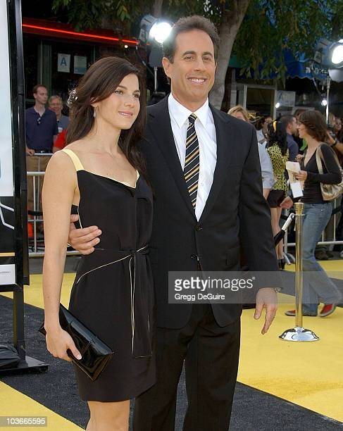 Actor Jerry Seinfeld and wife Jessica Seinfeld arrive at the Los Angeles Bee Movie premiere at the Mann Village Theatre on October 28 2007 in...