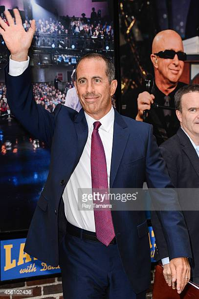 Actor Jerry Seinfeld leaves the 'Late Show With David Letterman' taping at the Ed Sullivan Theater on September 25 2014 in New York City