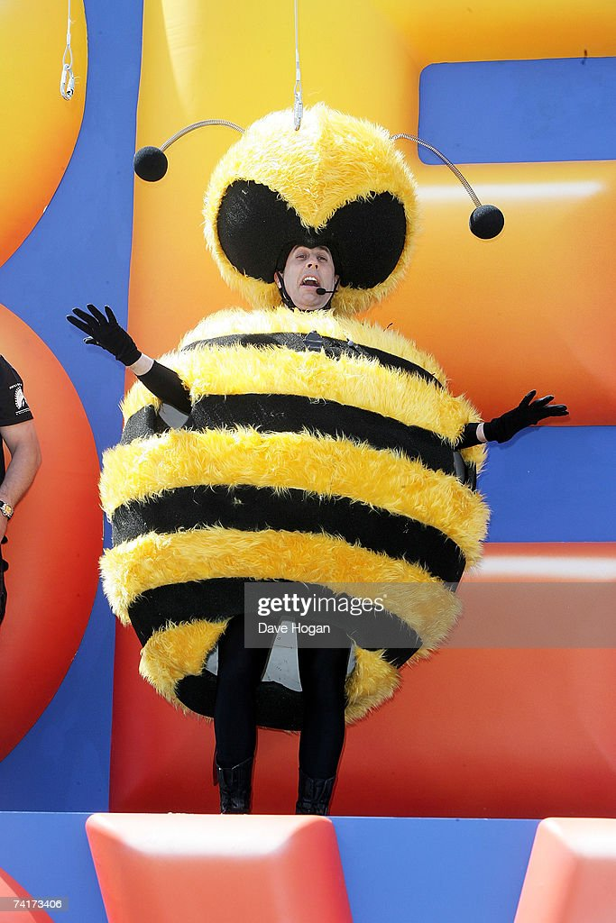 Actor Jerry Seinfeld stands on the landing platform after sliding down on a wire from the  sc 1 st  Getty Images & Bee Costume Stock Photos and Pictures | Getty Images