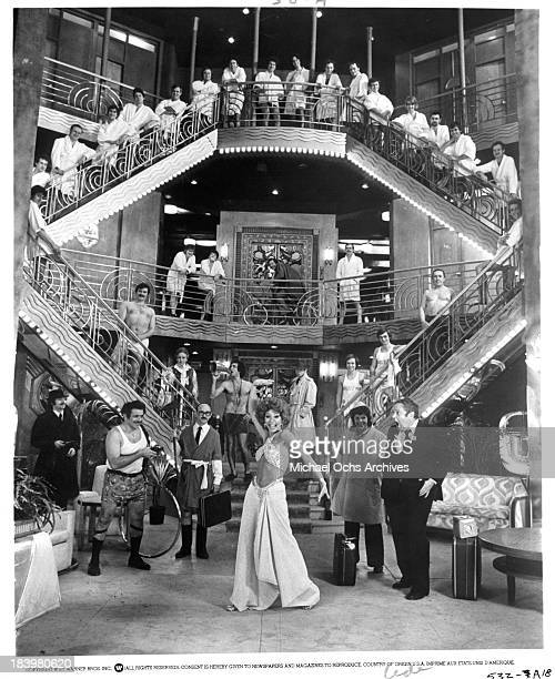 Actor Jerry Stiller actor Paul B Price actress Rita Moreno actress Kaye Ballard and actor Jack Weston on set of the Warner Bros movie'The Ritz' in...