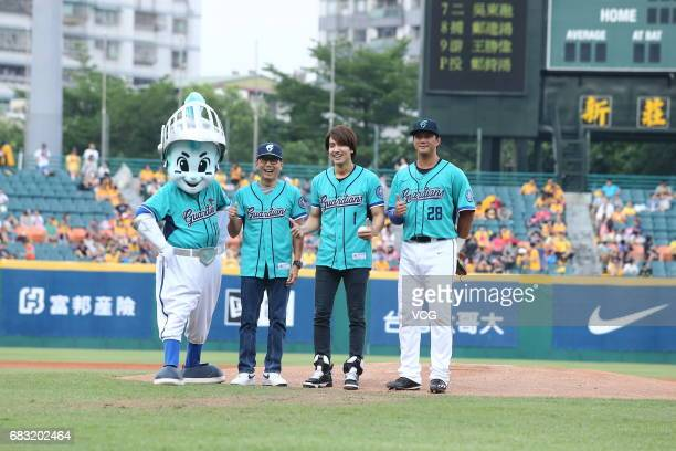 Actor Jerry Yan attends a professional baseball game on May 14 2017 in Taipei Taiwan