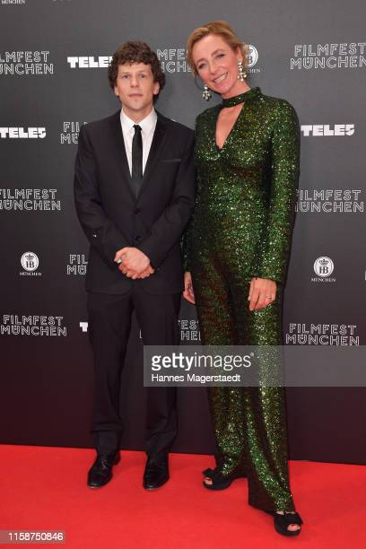 Actor Jesse Einsenberg and the director of the Munich Film Festival Diana Iljinehe during the opening night of the Munich Film Festival 2019 at...