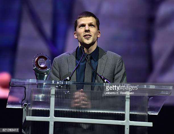 Actor Jesse Eisenberg accepts the Male Star of the Year Award during the CinemaCon Big Screen Achievement Awards brought to you by the CocaCola...