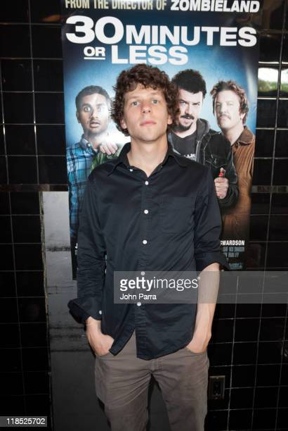 Actor Jesse Eisenberg attends the 30 Minutes Or Less 30 Minute Snack Fan Event at Pizza Rustica on Lincoln Road on July 8 2011 in Miami Beach Florida