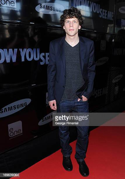 Actor Jesse Eisenberg attends the premiere of 'Now You See Me' at the Scotiabank theatre on May 29 2013 Toronto Canada