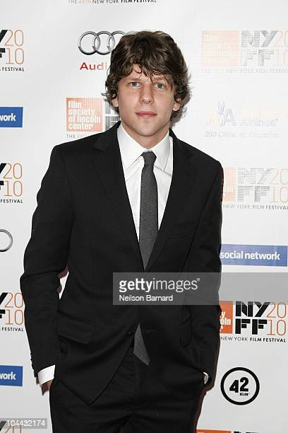 Actor Jesse Eisenberg attends the premiere of The Social Network during the 48th New York Film Festival at Alice Tully Hall Lincoln Center on...