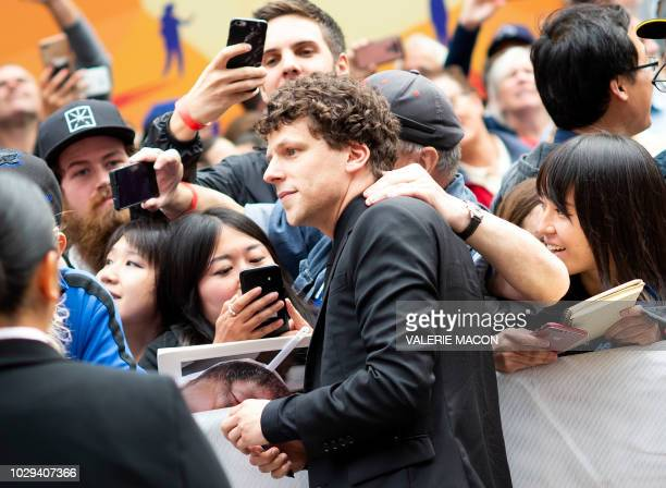 Actor Jesse Eisenberg attends the 'The Hummingbird Project' premiere during the Toronto International Film Festival on September 8 in Toronto Ontario...