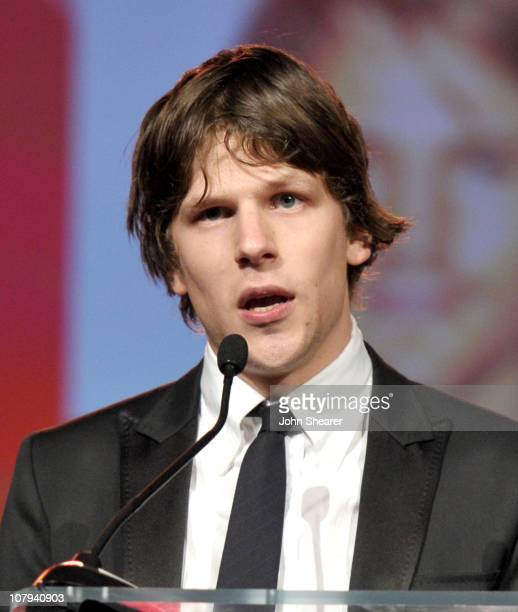 Actor Jesse Eisenberg speaks onstage during the 22nd Annual Palm Springs International Film Festival Awards Gala at the Palm Springs Convention...