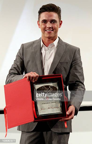 Actor Jesse McCartney poses with the Giffoni Award during Giffoni Experience 2010 on July 25 2010 in Giffoni Valle Piana Italy
