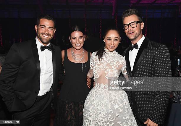 Actor Jesse Metcalfe actress Lea Michele actress Cara Santana and stylist/TV personality Brad Goreski attend amfAR's Inspiration Gala Los Angeles at...