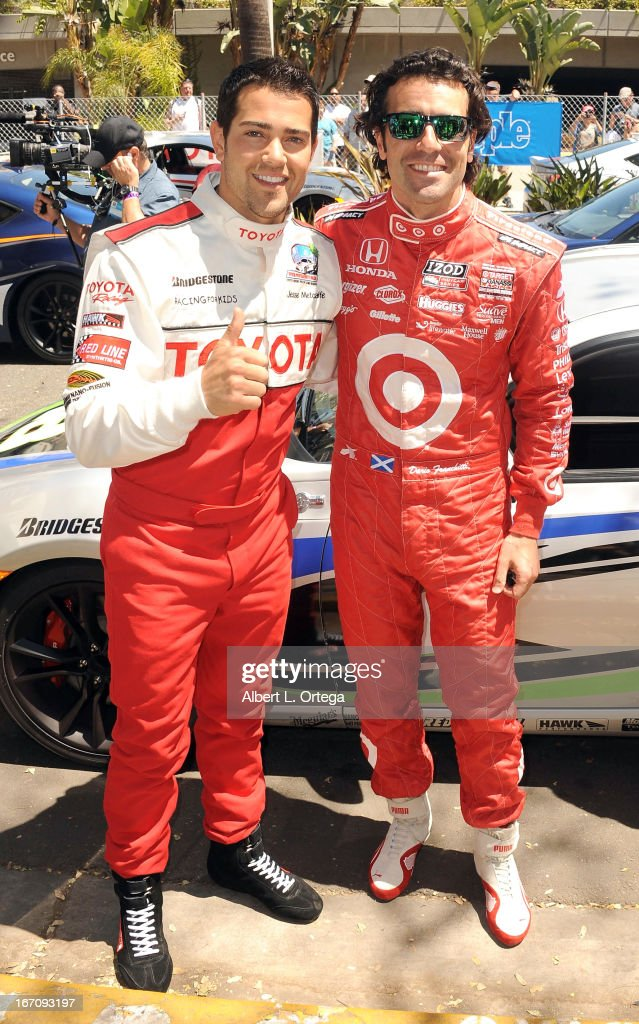 Actor Jesse Metcalfe and NASCAR driver Dario Franchitti participate in the 37th Annual Toyota Pro/Celebrity Race - Qualifying Day held on April 19, 2013 in Long Beach, California.